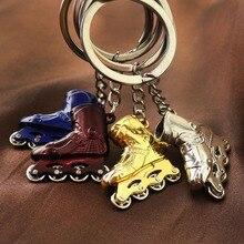 RE 100pcs/lot metal keychain bag charm pendant roller skates shoe keyring lover jewelry fashion women men key chains S15