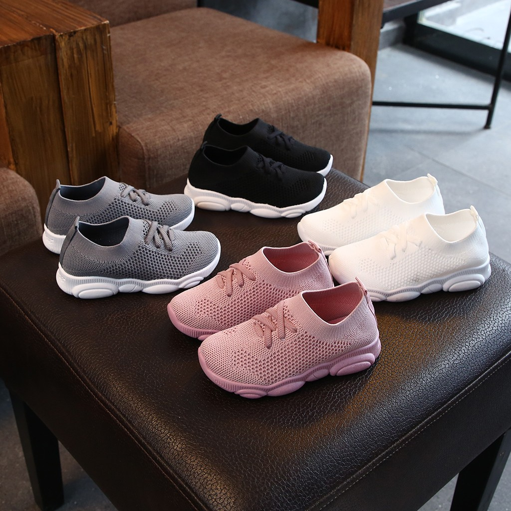 2019 New Arrival Children Infant Kids Baby Girls Boys Solid Stretch Mesh Sport Run Sneakers Solid Color Breath Shoes Sepatu Anak