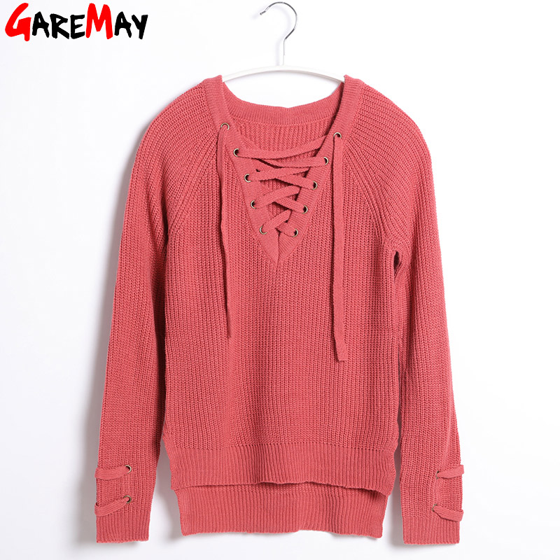 5b200a2f7a0 US $14.21 46% OFF|Sweater Women Pullover Long Sleeve Knitted jumper Sexy  Tops Winter Women's Sweaters Knitwear Pull Femme Hiver 2019 GAREMAY-in ...