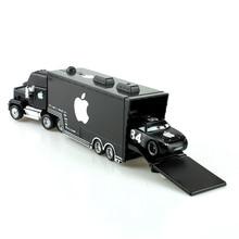 Disney Pixar Cars Black Apple Mack Truck +Small Car 1:55 Metal Toy Alloy Car Diecasts & Toy Vehicles Car Model Toys