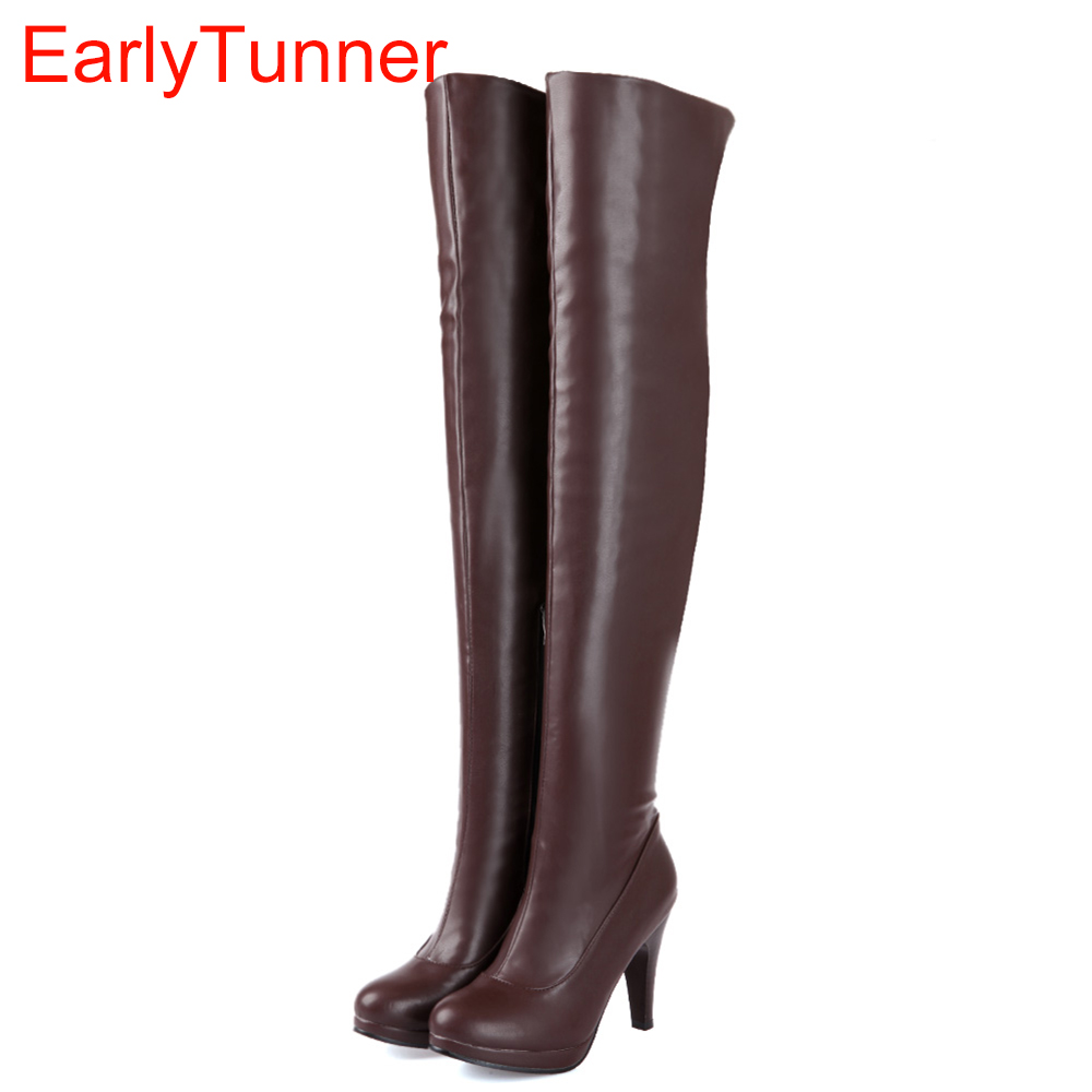 Sales Hot Fashion Sexy Black Brown Women Over The Thigh Knee High Boots Ladies High Heels Shoes A580B Plus Big size 4 12 47 brand new hot sexy women sandals black light blue apricot fashion pumps ladies high heel shoes em331 plus big size 4 10 12 43 47