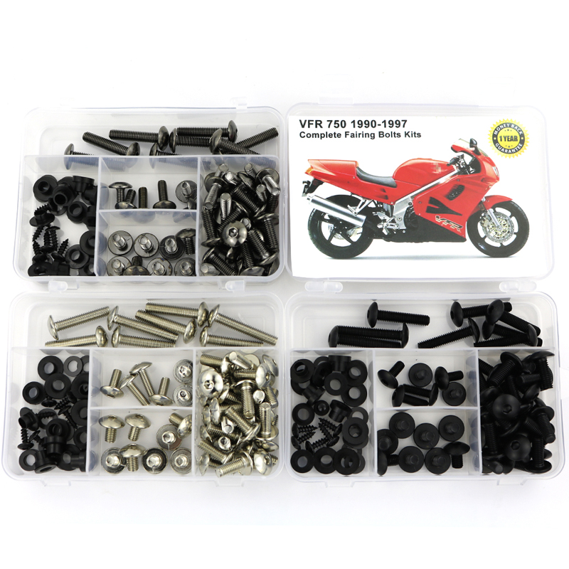 For Honda VFR 750 1990-1997 Motorcycle Full Fairing Bolts Kit Steel Complete Bodywork Screws Fairing Clips Nuts