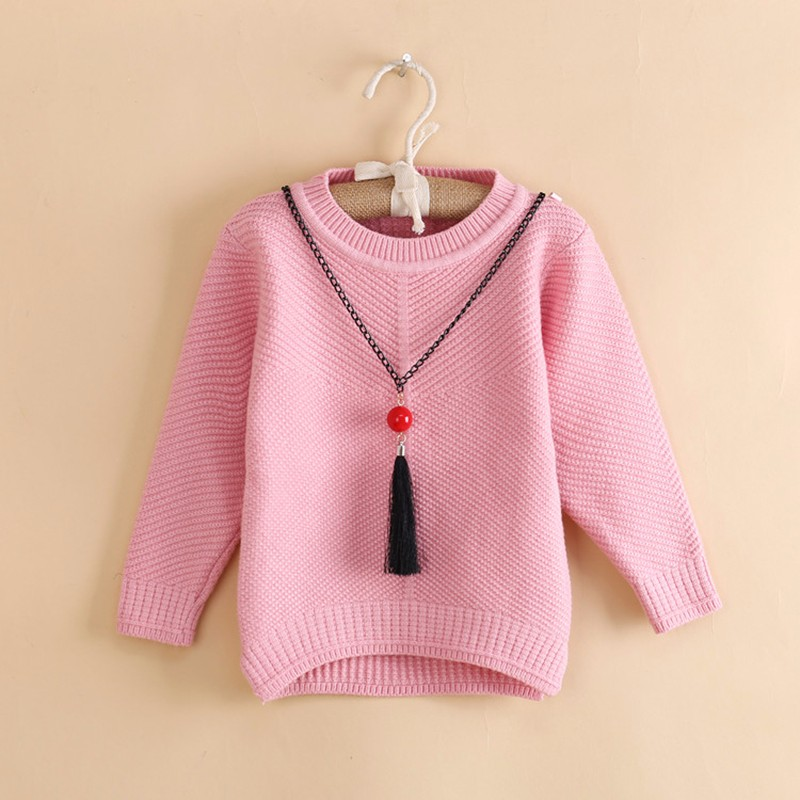 Cotton Girls Sweaters Solid O Neck Top Long Sleeve Clothes Pullover Knit Outerwear Autumn Winter Kids Sweater Children Clothing (7)