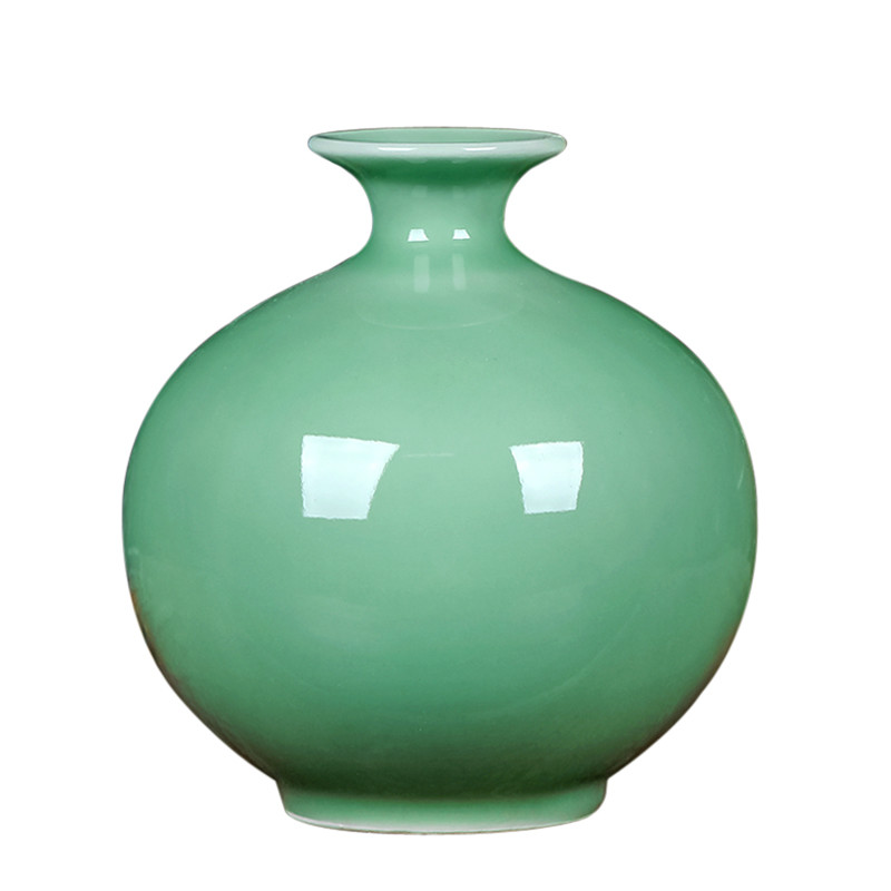 Chinese Vintage Jingdezhen Decorative Fine Porcelain Jade Vases High Temperature Green Glazed Ceramic Flower Vase Creative Gifts