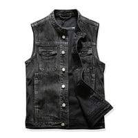 Men Denim Vest Sleeveless Jean Slim wave men's cowboy horse clip Cowboy vest black cowboy vest