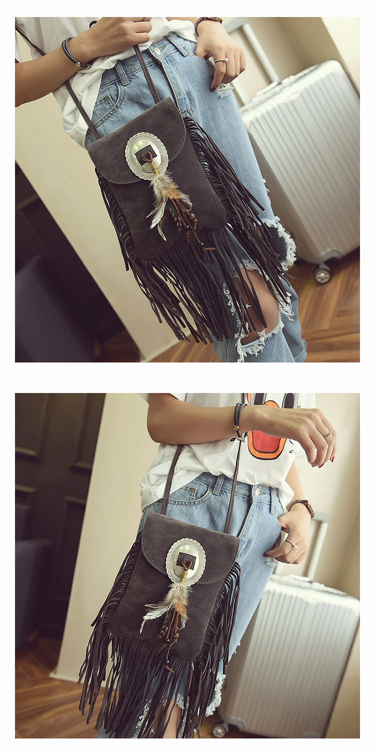 Female Small suede Bag Brown Beaded Feathers Hippie American Indian Tribal Bohemian Boho Chic Ibiza Style Pouch Bag (16)
