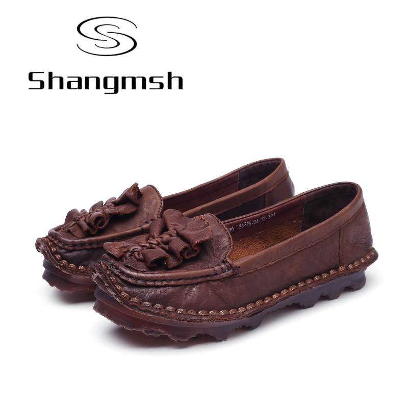 Shangmsh Plus Size Fashion Autumn Women Shoes Slip on Casual Soft Loafers Flat Shoe Footwear Genuine Leather Shoes For Women 2017 spring summer women flat shoes woman slip on loafers women s fashion leather shoes moccasins female footwear plus size 41
