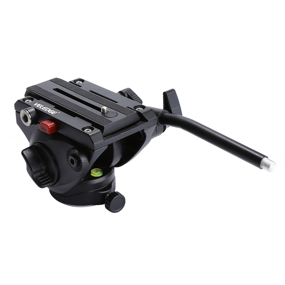 VELEDGE Lightweight Video Fluid Head Hydraulic Damping DSLR 360 Panoramic Tripod Head For Canon Nikon Sony Camera Camcorder 360┬░ two handle hydraulic damping three dimensional tripod head for camera black