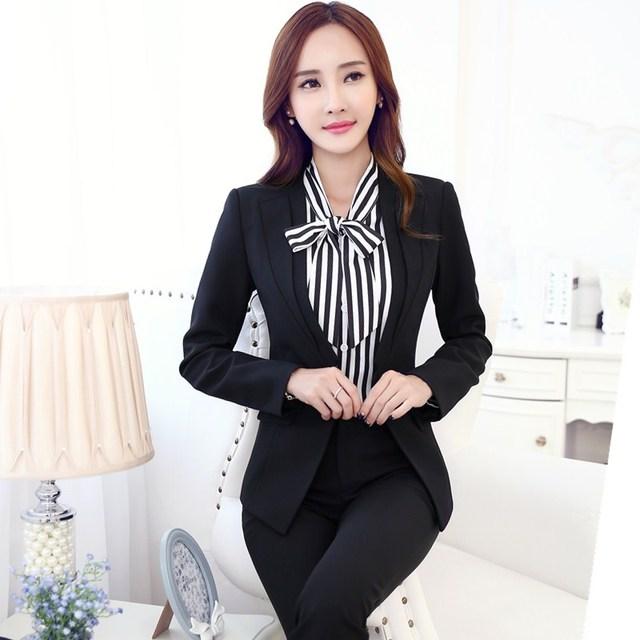2015 nuevas mujeres elegantes traje 3 unidades conjunto de la chaqueta Blazer  mujer con camisa y 3779c081e036