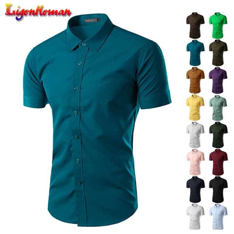 Men's Leisure New 2019 Masculina Chemise Homme Summer Mens Solid Color Business Shirts Slim Fit Short Sleeve Fashion Shirt