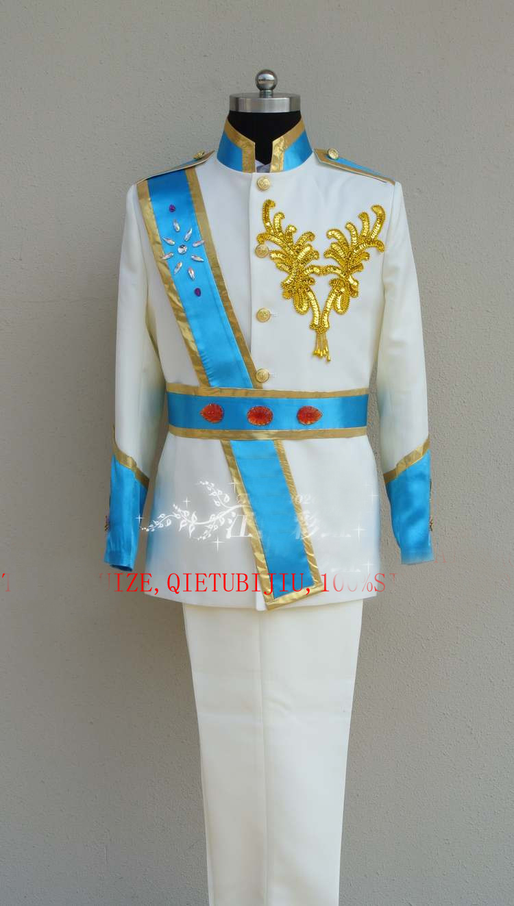 mens beading blue/red ribbons white medieval suit vintage period costume jacket with pants prince william suit general cosplay