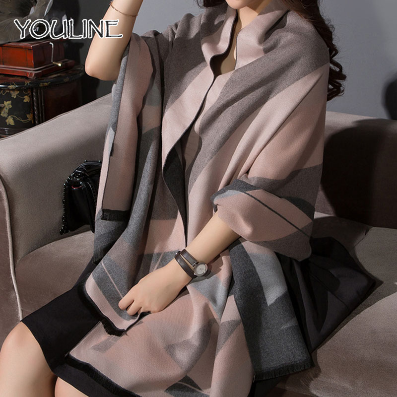 New Double-Sided 190cm*70cm Autumn Fall Winter Cashmere Neck Scarf Warm Soft Pashmina For Women Scarves Plaid Tassels Shawl