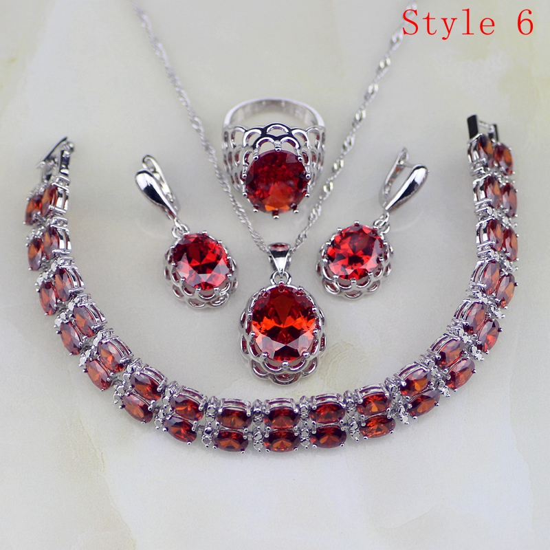 Red Zircon White Rhinestone 925 Sterling Silver Jewelry Sets For Women Earrings/Pendant/Necklace/Bracelet 6 Bracelets Availabled a suit of elegant red rhinestone bamboo necklace bracelet ring and earrings for women