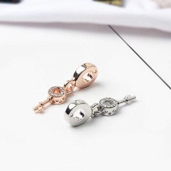 925 Sliver Bead Rose Gold Enamal Pendant Dangle Charm Fit Pandora Bracelet Necklace DIY 2