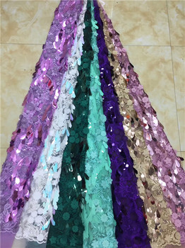 African Sequins Lace Fabric 2019 Nigerian French Tulle Lace with 3D Sequins Embroidery Lace Fabric for Dress X6