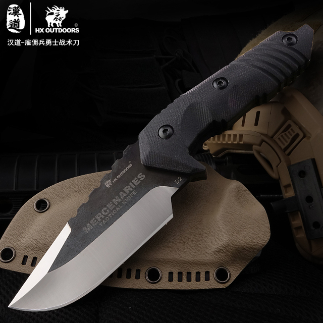 HX OUTDOORSHard Tough D2 Steel Fixed Blade Hunting Knife Outdoor Survival Knives& Sheath factory For Hiking Hot Sale