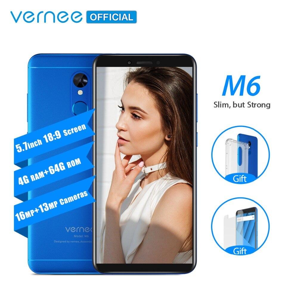Vernee M6 4 gb 64 gb Smartphone Ultra 5.7 pouces téléphone portable 4g LTE Android 7.0 Téléphone avec 13MP Selfie caméra 16MP Caméras D'empreintes Digitales