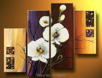 High Quality Morning Camellia White Flower Oil Painting On Canvas 4Pcs Art Sets Abstract Home Decor Modern Wall For Living Room