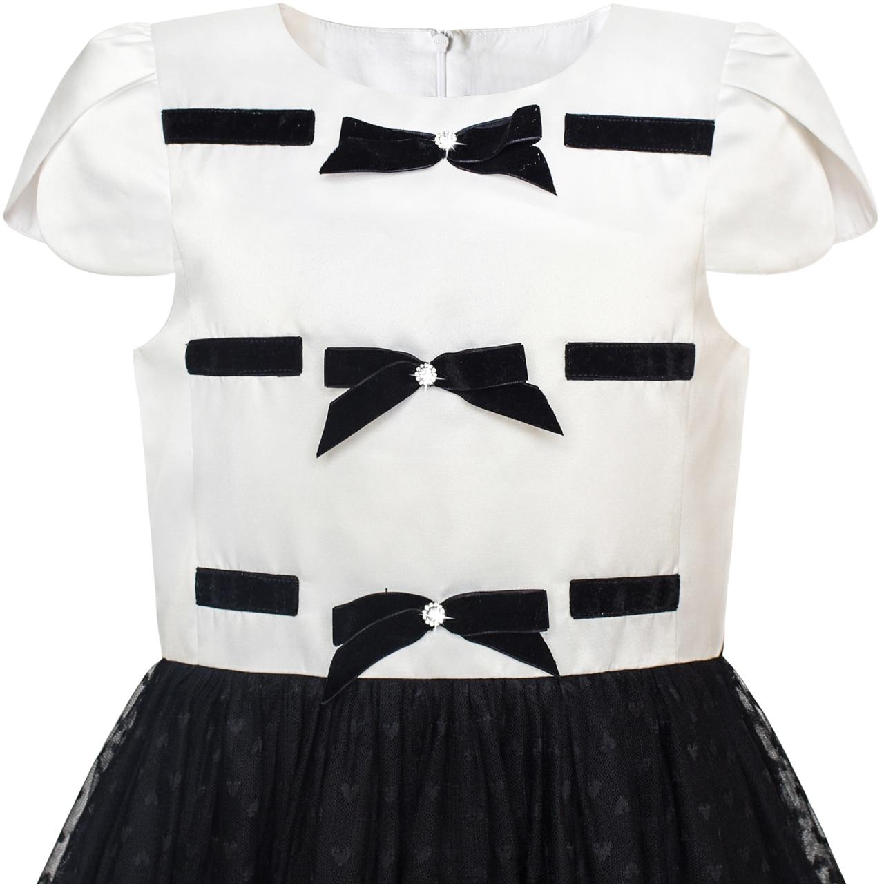 9a208496ecde3 US $20.39 49% OFF Girls Dress Back School Black White Bow Tie School  Uniform 2018 Summer Princess Wedding Party Dresses Children Clothes Size 6  12-in ...