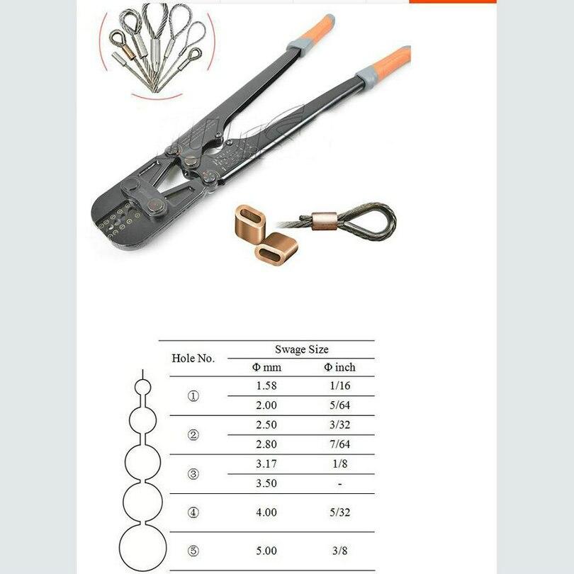 1 pc/lot Presszange Virole Presse De Sertissage Outil + Fil D'acier Corde Cut Pour 1.5-5.0mm Fil Corde Et tous les Types Virole