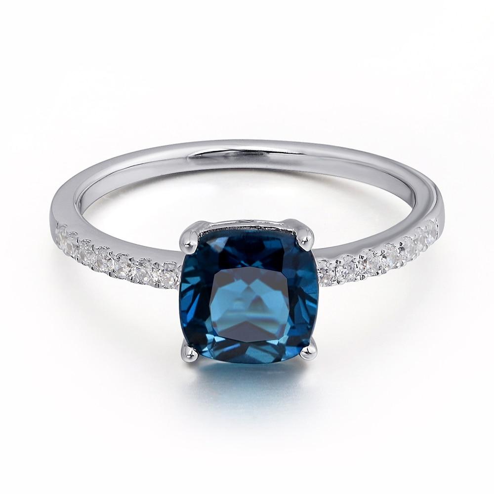 Leige zərgərlik London Mavi Topaz Üzük Solitaire Gemstone 925 - Gözəl zərgərlik - Fotoqrafiya 3