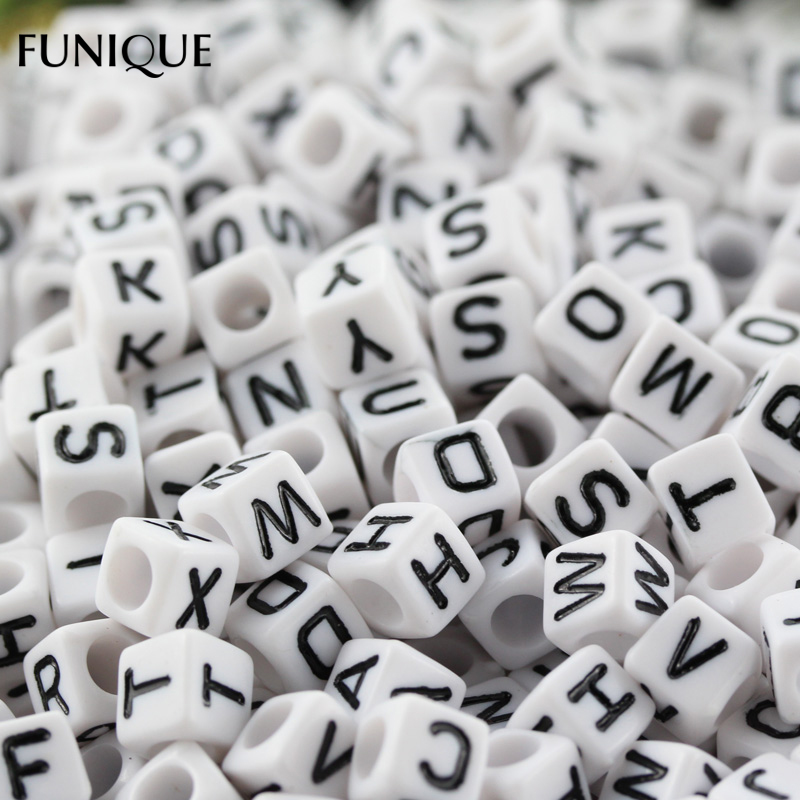 funique letter beads square colorful alphabet beads for