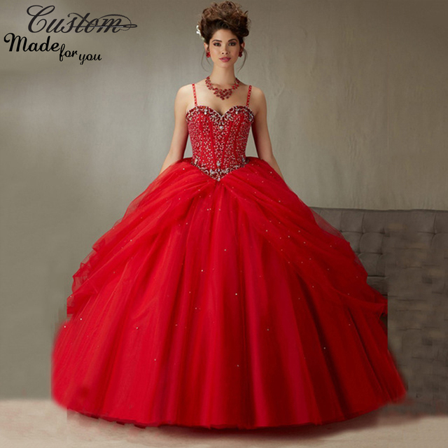 c9342d9f3e Formal Masquerade Ball Gowns Cheap Puffy Sweetheart with Spaghetti Straps Beaded  Crystals Red Quinceanera Dressess 2016 Latest