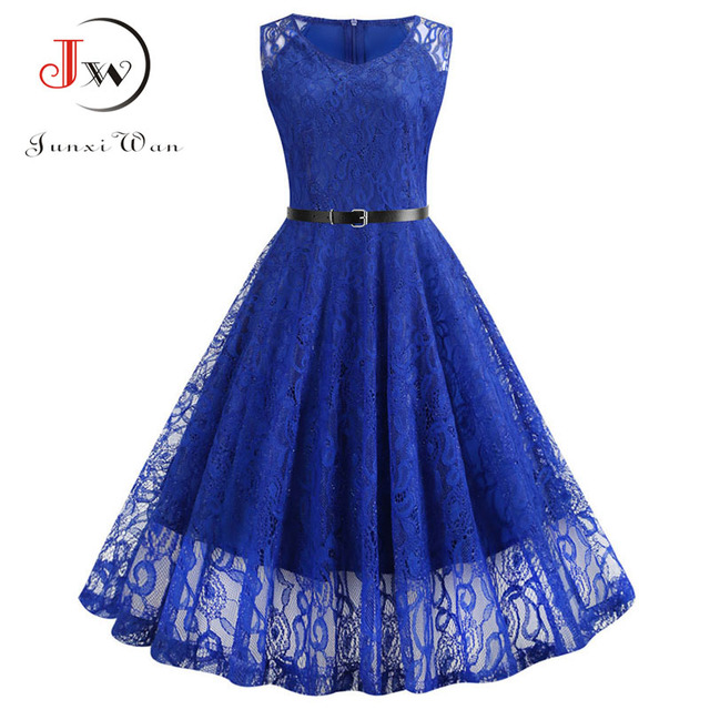 Lace Vintage Dress Women Summer Sleeveless Sexy Red Party Dresses Casual Elegant Midi Office Vestidos Robe Femme Plus Size 4