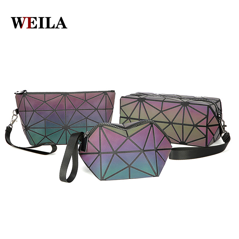 New Zipper Cosmetic Bag Women Luminous Makeup Bag Geometric Women's Cosmetics Organizer Folding Travel Make Up Bag Wholesale