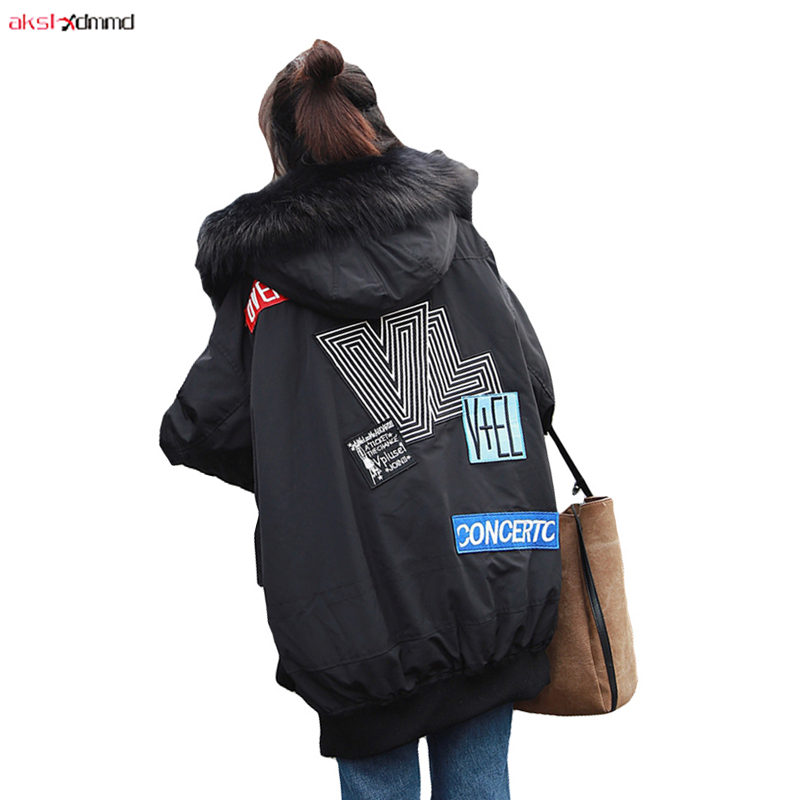 2019 New Women Winter Cotton Padded Coat Loose Fur Hooded Jacket Plus Size Casual Zipper Outer Outwear Vintage   Parkas   AC309