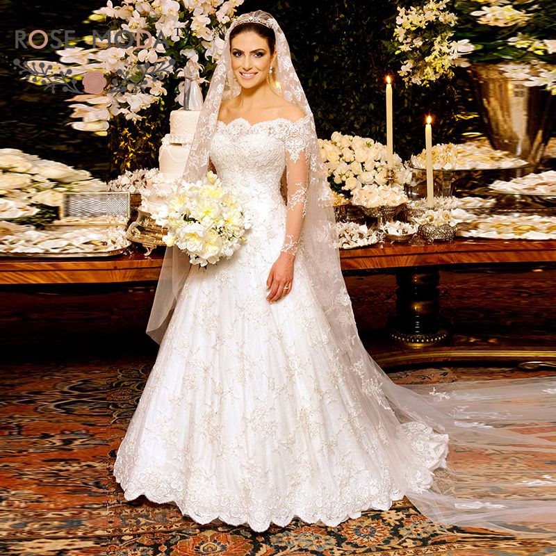 Stunning Boat Neck Long Sleeves Lace A Line Winter Wedding Dress ...