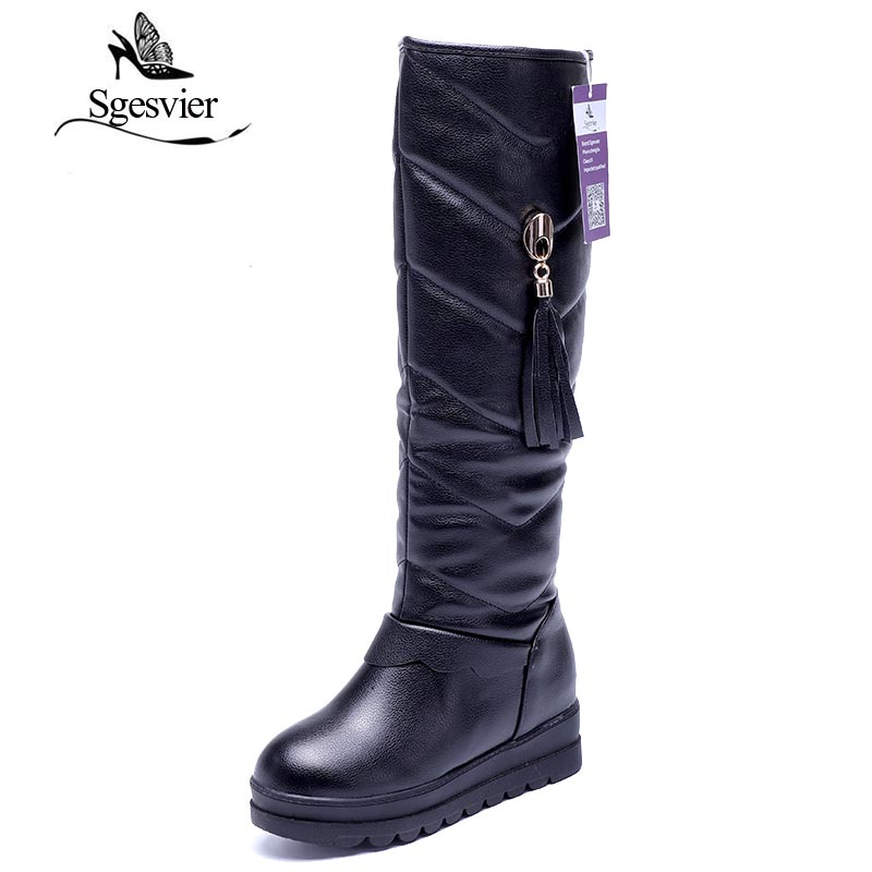SGESVIER New Fashion Snow Boots Platform Heel Knee High Boots Thick Fur Inside Winter Boots Ladies Women Boots Shoes OX118 2016 new arrive keep warm high heel snow boots fashion thick fur platform knee high winter boots for women shoes