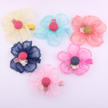 20pcs/lot Newest childrens hair accessories Fashion big Net yarn flower clips Floral baby hairpins 6 colors