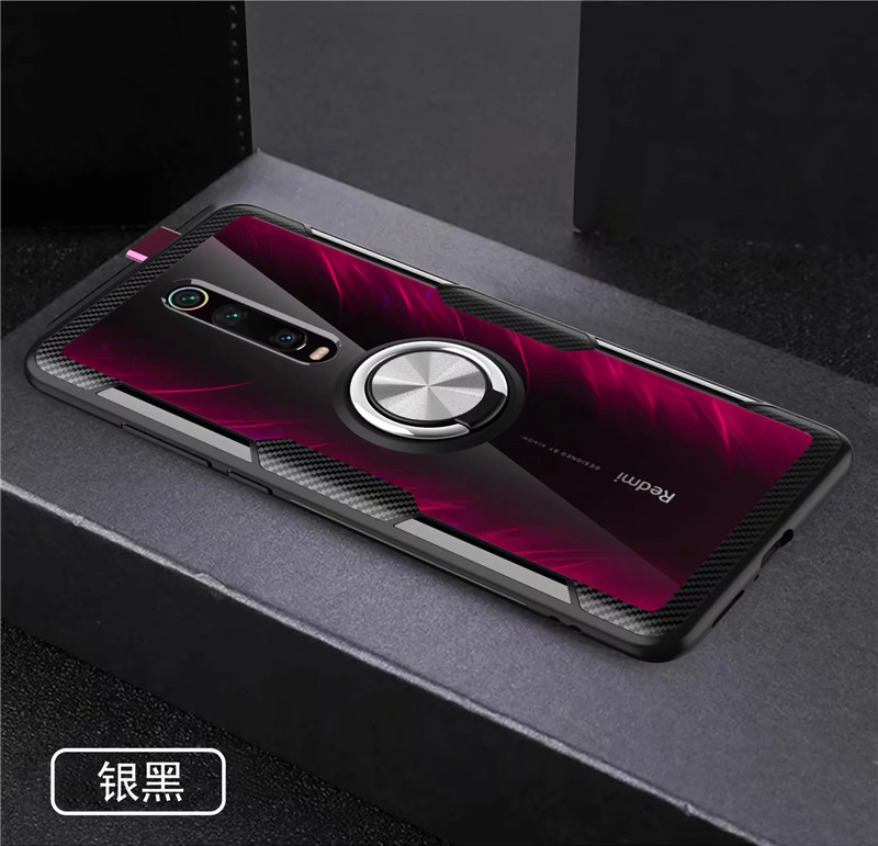 Tempered Glass Case For Redmi K20 Note 7 8 Clear Armor Cover For Mi Note 10 CC9 PRo A3 Lite 9T Mi9T 9 SE Metal Ring Holder Coque