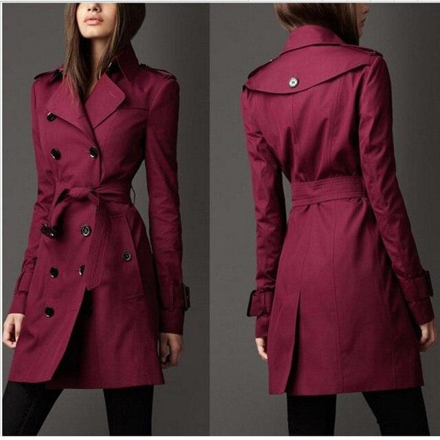 Женщины Пальто 2016 Новая Мода Осень Зима Пояс Двубортный Стройная Длинный Плащ