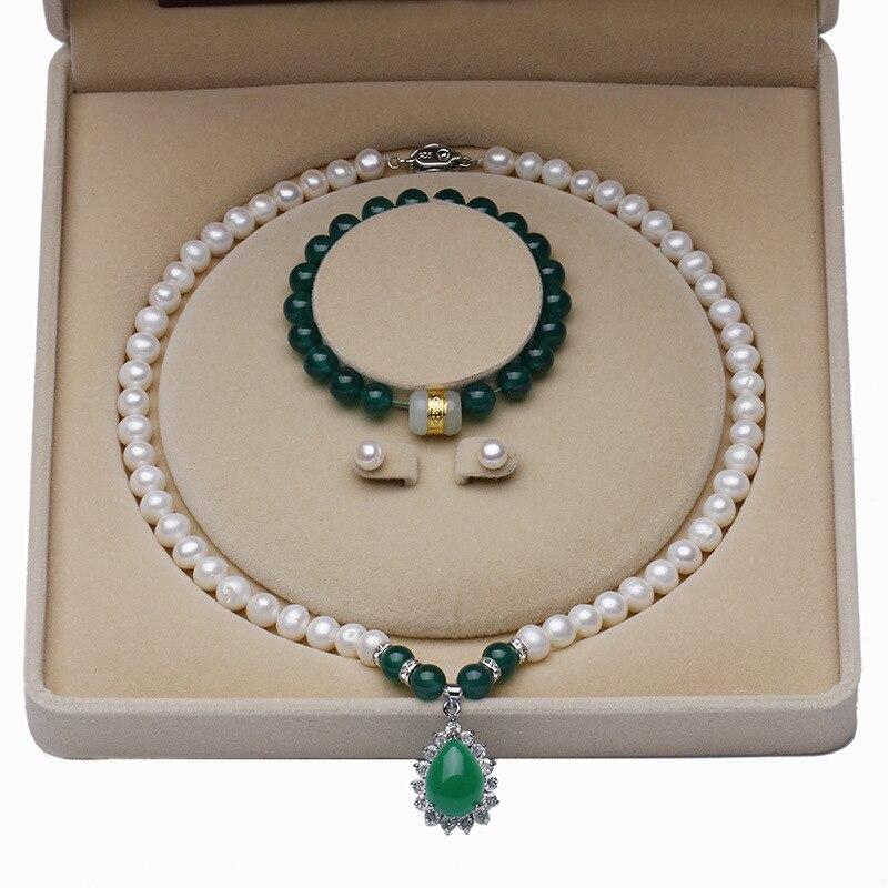 Collier de perles d'eau douce blanches naturelles 8-10mm, collier pendentif, ensemble de collier, est le meilleur cadeau pour les gens