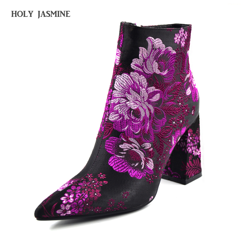 2018 New Embroider Boots Female Autumn Fashion Ankle Boots For Women High Heels Retro Women Shoes Autumn Women High Boots Flower tangnest autumn new women ankle boots retro denim embroider boots for female fashion canvas zipper boot wedge shoes xwx6538