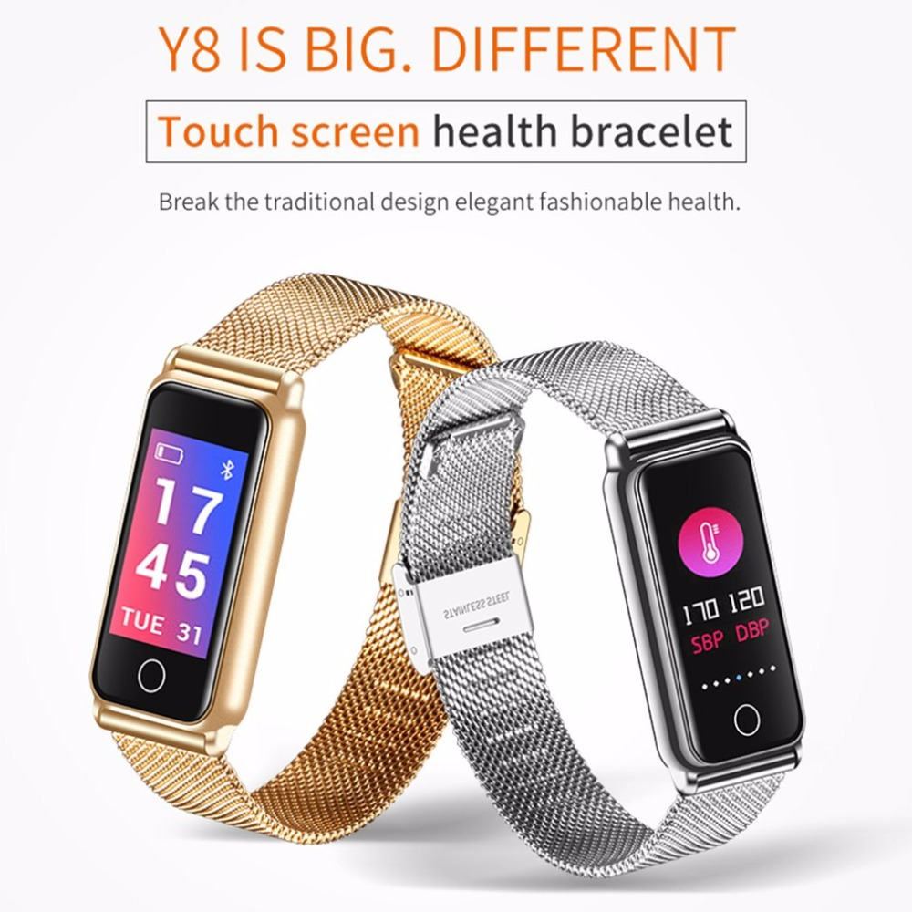 0.96 Inch Touch Color Screen Y8 Bluetooth Smart Band Full Metal Heart Rate Monitor Blood Pressure Oxygen Health Fitness Tracker