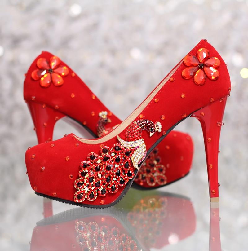 ФОТО Anti-slip RED COLOR wedding shoes rhinestone luxury formal wedding shoes women's red bridal shoes thin heel (heel 12cm, 14cm)
