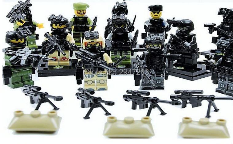 hot 12 PZ LegoINGlys mini Military figures Army field forces Specia Force Building blocks war weapon guns Toys for children gift 12pcs set children kids toys gift mini figures toys little pet animal cat dog lps action figures