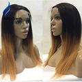 Alice Brazilian Full Lace Wigs Ombre Colors Straight Human Hair Wig Middle Part Lace Front Wig With Baby Hair Long Straight Wigs
