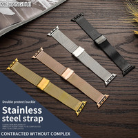 MEIKANGHUI Metal watch strap for male and female stainless steel wire mesh belt Apple Watch Series