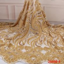 Lüks altın kadife dantel kumaşlar ile Sequins yüksek kaliteli Sequins dantel kumaşlar afrika nijeryalı tül Mesh dantel kumaş APW2668B