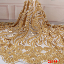 Luxury Gold Velvet Lace Fabrics with Sequins High Quality Sequins Lace Fabrics African Nigerian Tulle Mesh Lace Fabric APW2668B