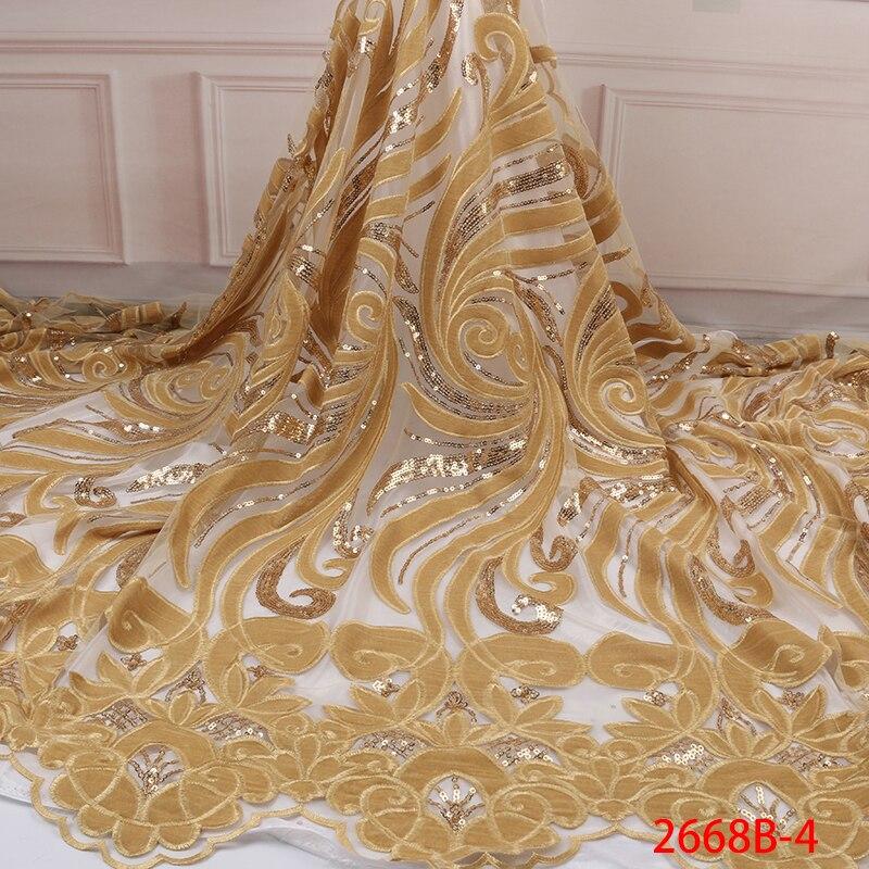 Telas de encaje de terciopelo dorado de lujo con lentejuelas de alta calidad telas de encaje de lentejuelas tela de encaje de tul nigeriano africano APW2668B-in encaje from Hogar y Mascotas    1