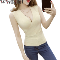 Tank Top Vetement Femme Fashion Vest Casual Sleeveless Sexy V Neck Women Summer Korean Knitted Cotton