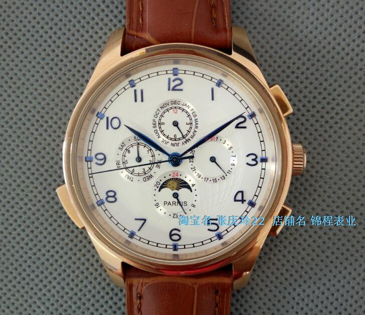 44MM PARNIS Automatic Self-Wind movement white dial multi-funtion men's watch Mechanical watches pvd Rose gold case GL19