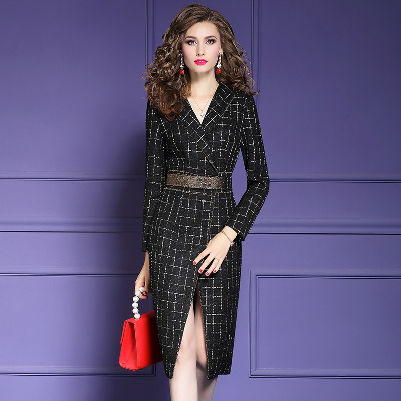 Office Lady Sexy Fork Opening Dress 2019 New Plus Size Women Chris