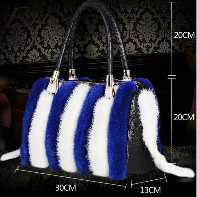 Etersto 2017 New Arrival Women Real Mink Fur Handbag Luxry Real Fur Bag Flap Bags Ladies Crossbody Bags Female Bags For Lady