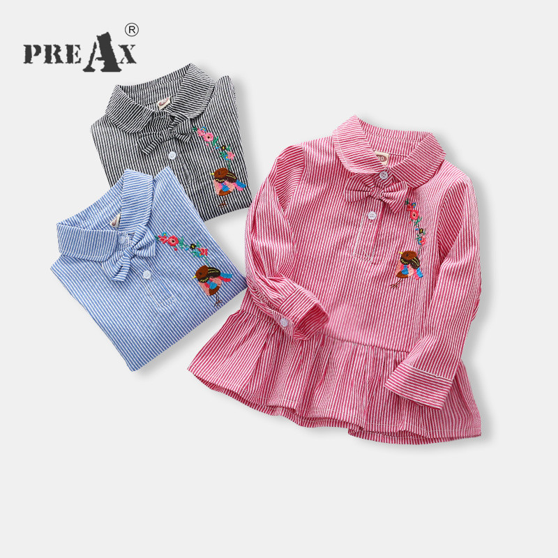 2018 Spring Autumn Girls Blouse Cotton Children Striped and Embroidery Flower Shirts Baby Girls Clothing A Line Tops for Kids
